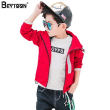 Beytoon Kids Boys Waterproof Jacket for Spring Autumn Navy Childrens Windbreaker Hooded Rain Coat for Age 5 8 10 14 Size