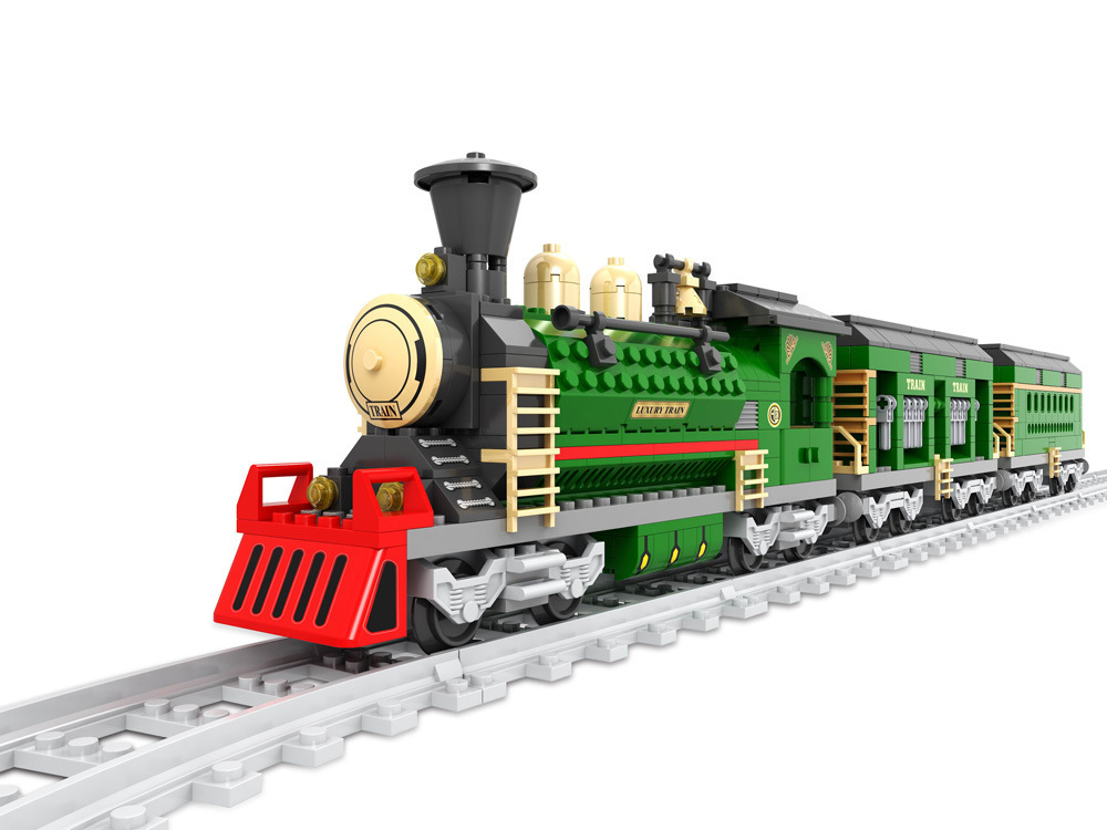 Model building kits compatible with lego Water steam train 3D blocks Educational model building toys hobbies for children<br>