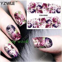 Water sticker for nails art decorations sliders purple flowers peony rose stickers adhesive nail design all decals accessoires 4