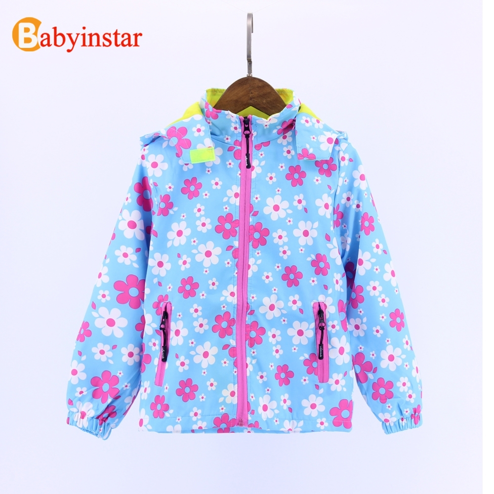 Babyinstar 2017 Girl's Jacket Children Clothing For 8-12 Yrs Kid's Windproof Coat Outfit Sport Active Wear Print Coat(China (Mainland))