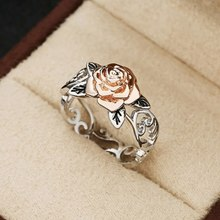 Vintage Rose Flower Rings for Women Girl Bohemia Antique Silver Color Rings Floral Rings Jewelry Valentine's Day Gift(China)