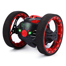 Mini Cars Bounce Car PEG SJ88 2.4GHz RC Car with Flexible Wheels Rotation LED Light Remote Control Robot Car Toys for Gifts(China)