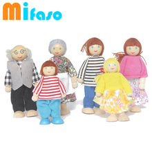 Kids action toy a family of 6 people, rod end puppets, education toy family Dolls wooden human articular joint doll(China)