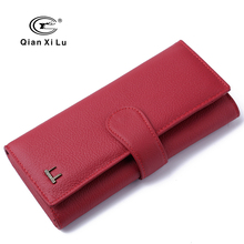 2017 New Brand 100% Genuine Leather Women Wallet High Quality Red Wallets Ladies' Long Clutches Card Holder Gift BOX Pack(China)