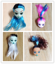 Kids Toy Colorful Demon Monster Doll Head with Wig Hair DIY Doll Accessories For Monster High Doll For 1/6 BJD Doll House(China)