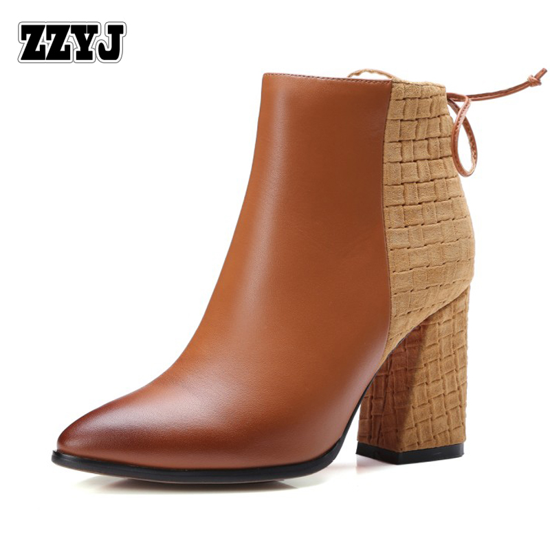 Zzyj Genuein Leather Women S Ankle Boots Y High Heels Top Fashion Clic Design Bow Knight