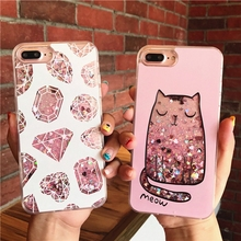 Dynamic Liquid Glitter Quicksand Case Colorful Diamond Cat Printed Cover For Apple iPhone 8 Plus 6 6S 7 Plus Mobile Phone Cases(China)
