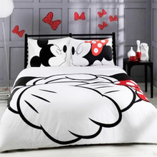 Mickey Mouse Bedding Set Cartoon Kids Favorite Home Textiles Plain Printed Stylish Bedclothes Single Double Queen Size