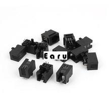 Black 12Pcs 4 Pins PCB Mounting Type RJ11 4P4C Modular Telephone Jack Socket