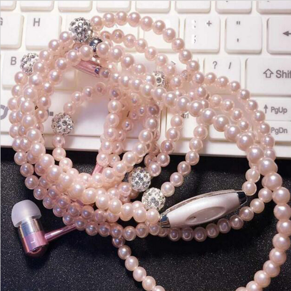 New Arrival Fashion Earphones Luxurious Bling Pearl Necklace Earphones for Girls Free Shipping<br><br>Aliexpress