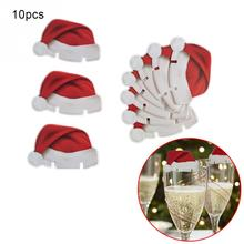 10pcs/Lot Red Card Christmas Hat Accessories Fun Glass Decorations paperboard stand santa hats holder dinner table party decor