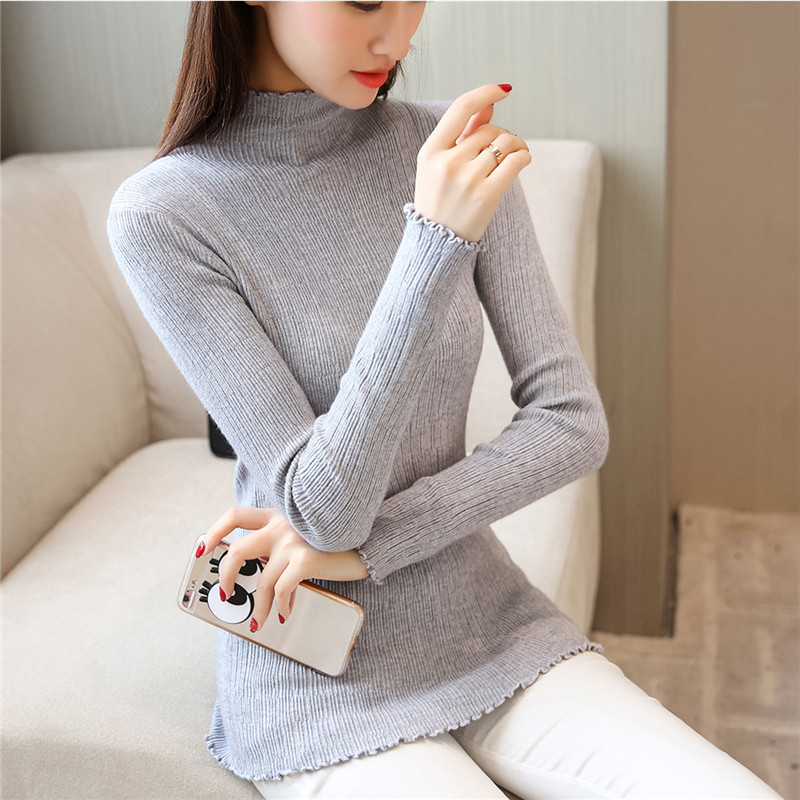 Lace sweater female sleeve head short slim slim 9a11c Korean all-match pure color long sleeve knit shirt