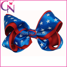 Newest Forth Of July Girls Hairbows Red Blue White Stars Popular Childrens Headwear Handmade Hair Bow with Clip CNHBW-1503236
