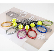 6pcs/set New Design Tennis racket Keychain Women Men Tennis Balls Schoolbag Keyrings Birthday Christmas Children Gift Car key(China)
