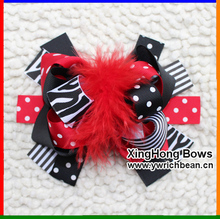 Girl's  Large Boutique In  Red Black with Zebra Printed Hair Flower Ribbon bows Sculpture Hair Clippie fashion
