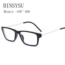 Finished Myopia Glasses Men Square Steel Wire Frame Legs Clear Lens Sighted Prescription Glasses -1 -1.5 -2 -2.5 -3 -3.5 -4(China)