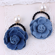 New Fashion Blue Jeans Stereo Flower Elastic Hair Bands Denim Cloth Ponytail Holder Hair Ties for Women Girls Hair Accessories