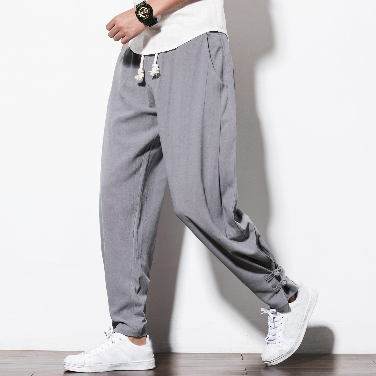 Frieed Mens Striped Buttons Drawstring Jogger Pants Workout Casual Slim Fit Harem Pants