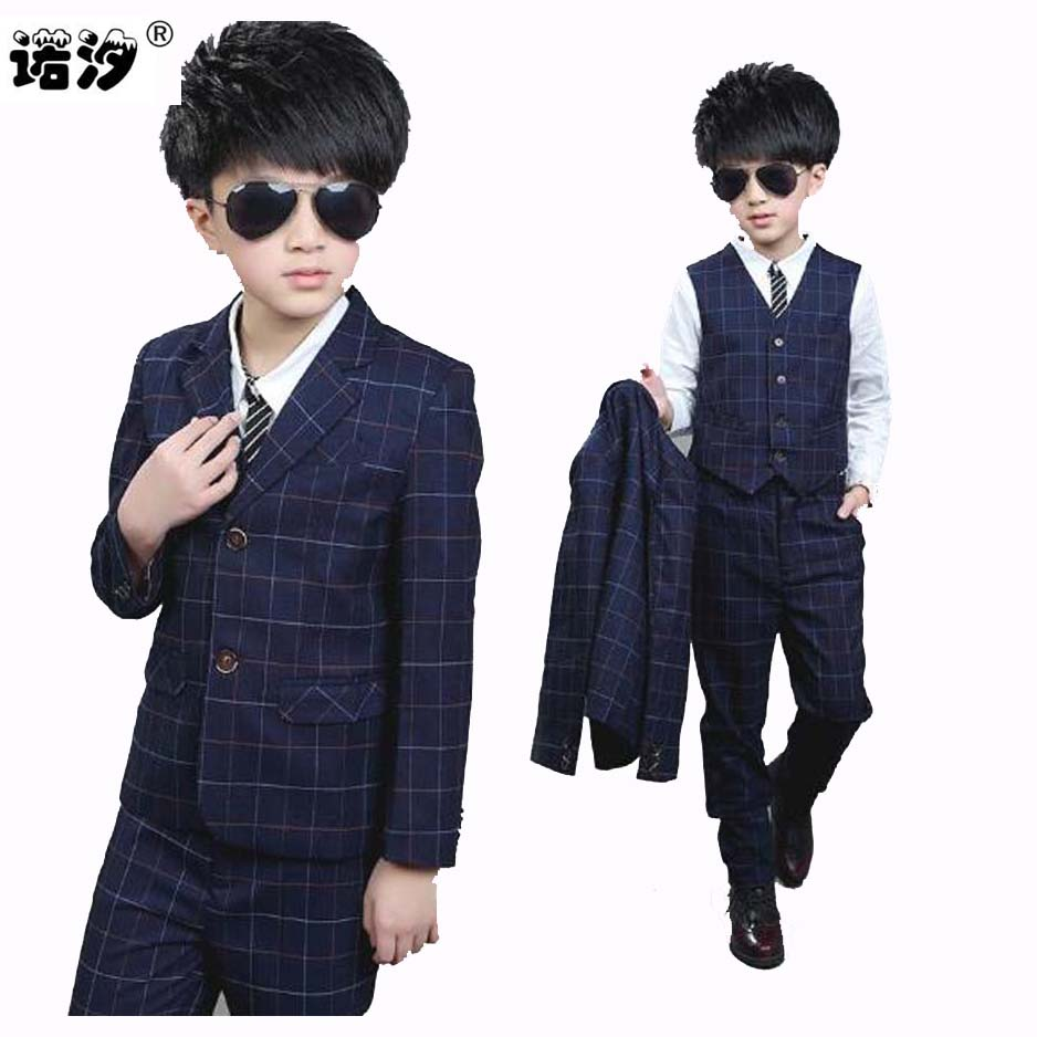 boys suits Children 3 pcs formal Suit Western-style Clothes Boys fashion plaid Turn-down Collar Single Breasted boys clothes<br>