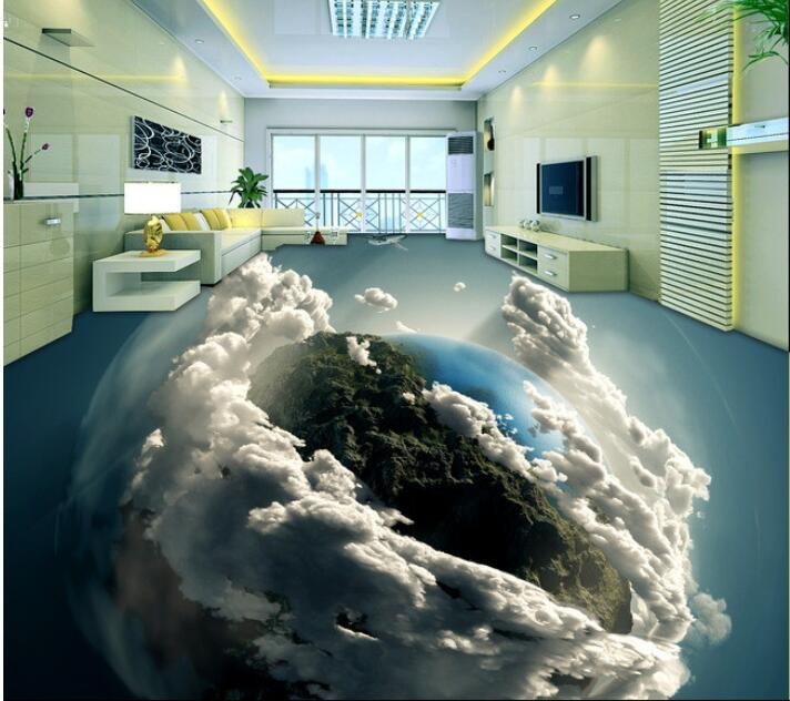 3 d PVC flooring custom photo waterproof self adhesion 3 d earths living room 3 d bathroom flooring 3d wall murals wallpaper<br>