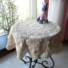 Handmade cotton crochet hook knitted openwork special offer pastoral decorative cloth hook flower lace tablecloth round European(China)