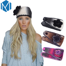 M MISM 2017 Trendy Dip Colors Women's Headbands Fashion Big Flower Wide Knit Turban Crochet Winter Ear Warmer Head Wrap Headwear(China)