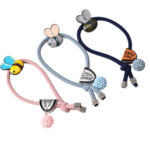 M MISM Korean Style Rubber Band Casual Ponytail Holder Women Scrunchy Cute Bee Headwear Girls Elastic Gum for Hair Accessories