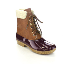 AXNY DYLAN-3 Women's Shoes Two Tone Lace Up Ankle Rain Duck Boots One Size Small(China)