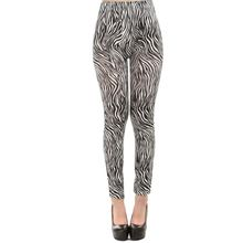 2017 new fashion black and white vertical printed zebra leggings lady street casual fittness legging girl slim ankle pants