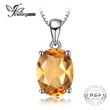 JewelryPalace Oval 1.7ct Natural Citrine Birthstone Solitaire Pendant Necklace Solid 925 Sterling Silver 45cm chain Fine Jewelry