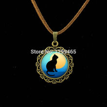 Vintage black  art picture Leather Necklace leisure series essential  full moon lucky Gift for lover and for friends L 066