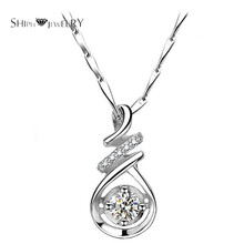 Brand Jewelry SHIPEI Fashion Pendant Necklace in Plated White Gold with Top Imitation Diamonds,Carat Total Weight 1.88(China)