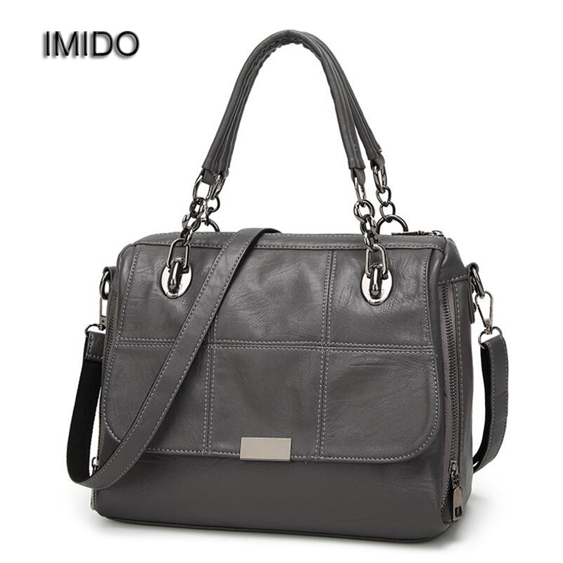 IMIDO 2017 Luxury Brand Designer Women Handbags Leather Shoulder Bag Retro Tote Daily bags for ladies Gray bolsa feminina HDG008<br>