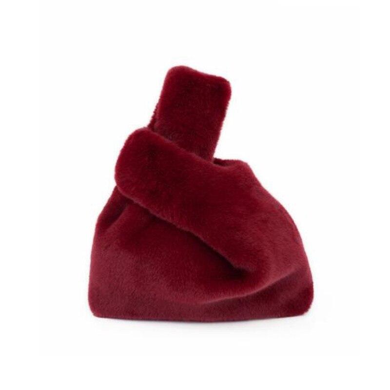 Rex Rabbit Fur Handbags Women Tote Bag Lady Winter Autumn Faux Fur Clutch Bag Plush Puffy Vest Bag Furry Bucket Bags Bolsas<br>