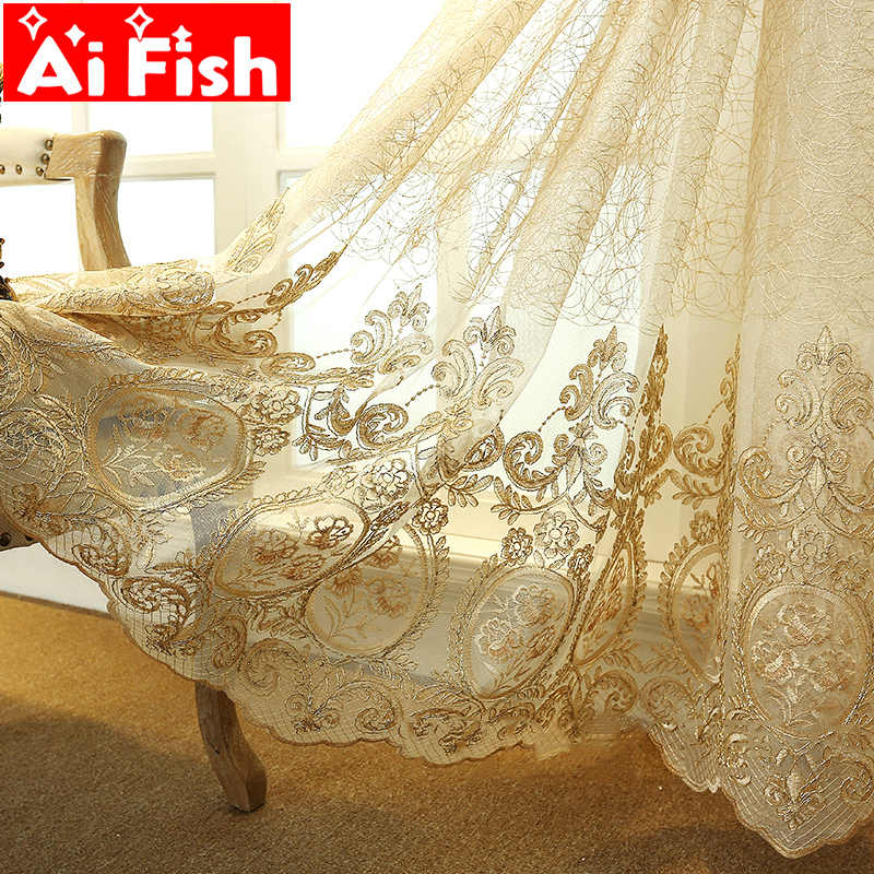 European Luxury elegance Embroidery lace Floral Tulle curtain for living room/ Kitchen French Window Home Decor Drapes M086#4