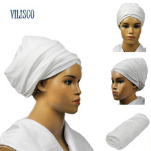 12 Colors Solid Soft Headtie African Turban Headties Sego Gele Head Tie for Women Party Accessories Velvet Turban Headwear XH08(China)
