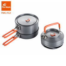 Fire Maple Outdoor Camping Hiking Cookware Backpacking Cooking Picnic 2 Pots 1 Frypan 1 Kettle Set Foldable Handle FMC-FC2(China)