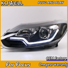 KOWELL Car Styling For Ford FOCUS headlights of Audi A8 style For FOCUS LED head lamp led DRL front light Bi-Xenon Lens xenon HI(China)