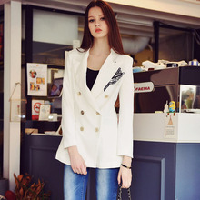 Original New 2017 Brand Coat Spring Autumn Plus Size Flower Double Breasted Slim Elegant Casual White Blazer Women Wholesale
