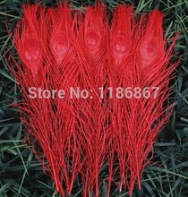 Free shipping red dyed peacock feather 100pcs/lot length 25- 30 cm 10-12 inch peacock feathers feather centerpieces wedding