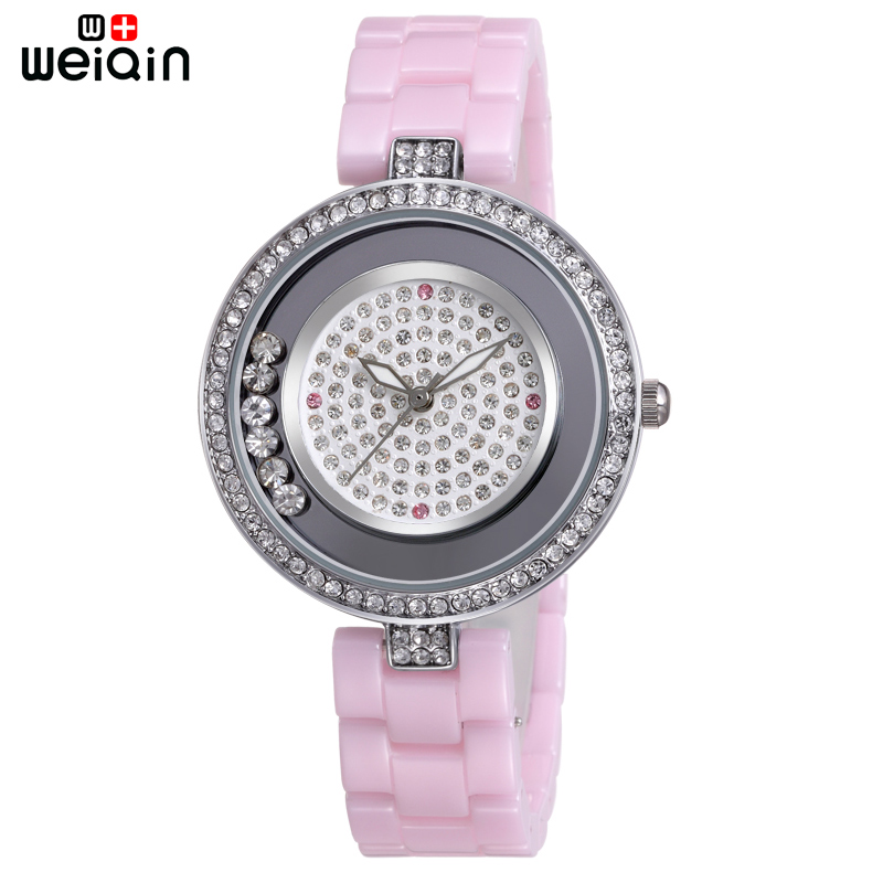 WEIQIN 100% Ceramic Band Fashion Crystal Diamond Women Watches Casual Ladies Wristwatches Elegant Top Quality Reloj Mujer 2017<br>