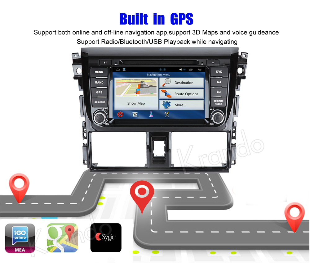 Krando android car radio stereo navigation gps for toyota yaris vios 2014 2015 2016 car dvd player multimedia system (5)