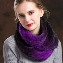 ZY86012 2017 New Arrived Long Scarf Autumn And Winter High-Quality Imported Mink Woven Fur Shawl Collar Stretch Gradient