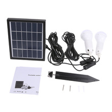 Solar Powered led lamp Outdoor/Indoor System Lighting 2 Bulb solar panel Low-power Camping Light 3W 6V(China)