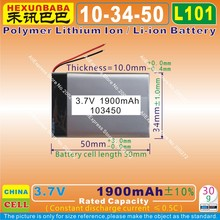 2pcs [L101] 3.7V,1900mAH,[103450] PLIB ( polymer lithium ion / Li-ion battery )for model toy,GPS,mp3,mp4,mp5;cell phone,speaker