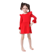 2017 New Christmas Party Princess Toddler girls Summer Boutique Dresses Red Long Sleeve Flutter Fall Baby Birthday Gift