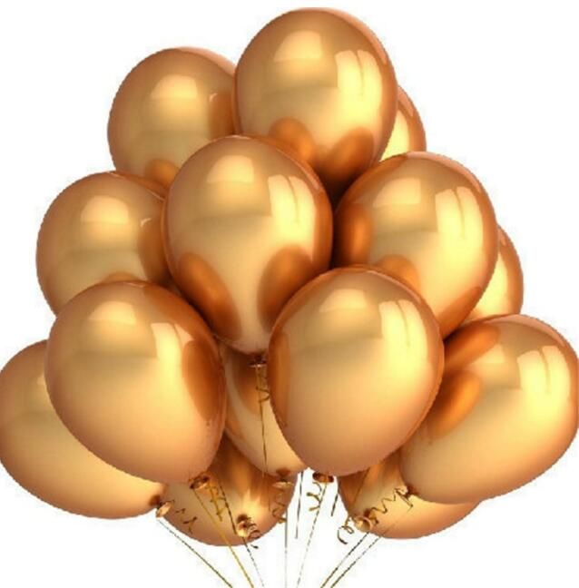 100pcs/set Gold Latex Balloons 12 inch Inflatable Latex Helium Balloons Wedding Happy Birthday Party Decoration Air Balloons(China)