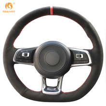 MEWANT For Volkswagen Golf 7 GTI Golf R MK7 VW Polo GTI Scirocco 2015 2016 Black Suede Car Steering Wheel Covers Accessories(China)
