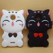 Fashion Soft Silicone Case for Motorola Moto C Cute 3D Cartoon Kawaii Bow Tie Cat Rubber Cover for MOTO G5 Plus Phone Cases(China)