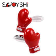 SAVOYSHI Novelty 3D Red Boxing Gloves Cufflinks for Mens Shirt Brand Cuff bottons High quality Enamel Cuff links Men Jewelry(China)